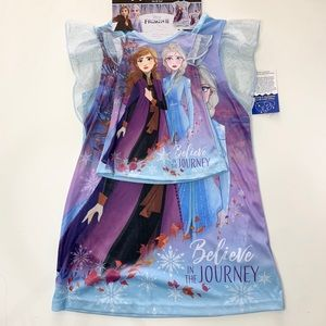 Disney Frozen girls NightGown with Doll Gown Blue